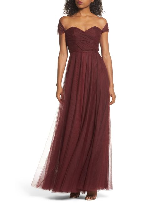 Jenny Yoo - Red Julia Convertible Soft Tulle Gown - Lyst