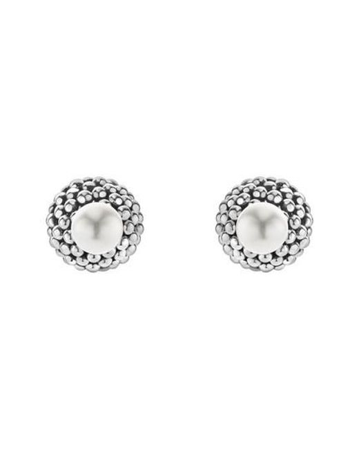 Lagos - Metallic Caviar & Pearl Stud Earrings - Lyst