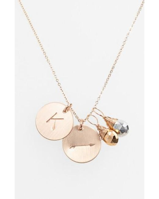 Nashelle   Metallic Pyrite Initial & Arrow 14k-gold Fill Disc Necklace   Lyst