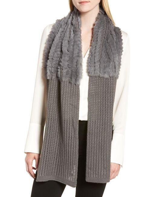 La Fiorentina - Gray Genuine Rabbit Fur & Acrylic Knit Scarf - Lyst