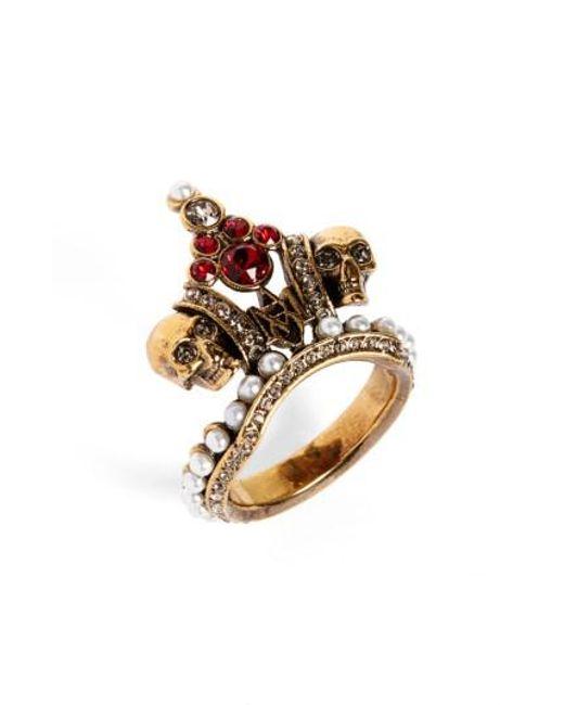 Alexander McQueen | Metallic Crown Skull Statement Ring | Lyst