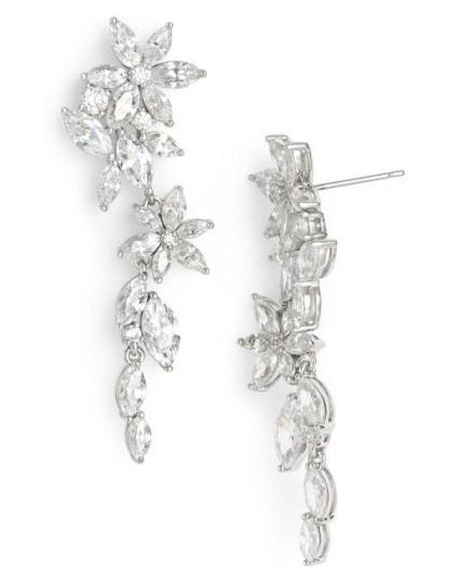 Nadri | Metallic Floral Crystal Linear Drop Earrings | Lyst