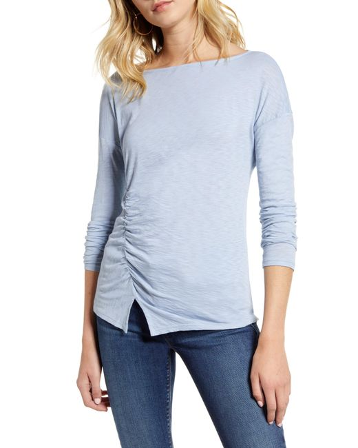 Stateside Blue Side Ruched Long Sleeve Supima Cotton Tee