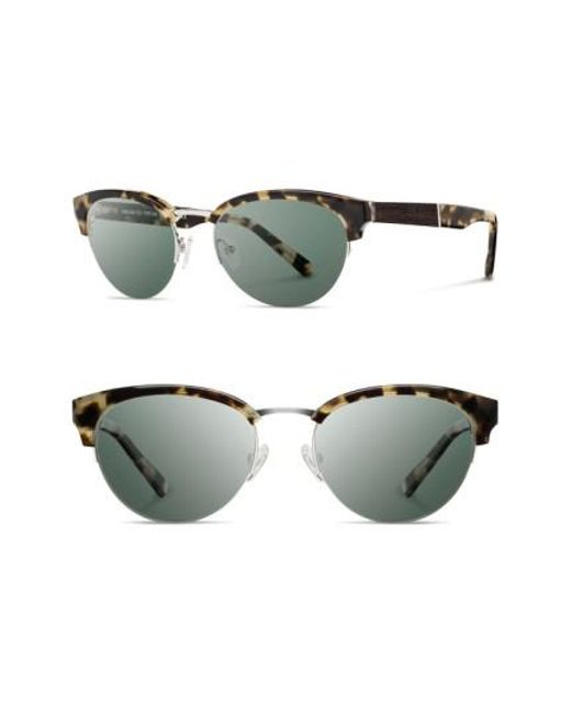 Shwood | Metallic 'hayden' 53mm Acetate & Wood Sunglasses - Vintage Tortoise/ Silver/ G15 | Lyst