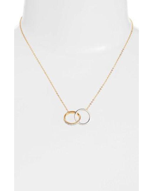 Nadri | Metallic Trinity Double Link Pendant Necklace | Lyst