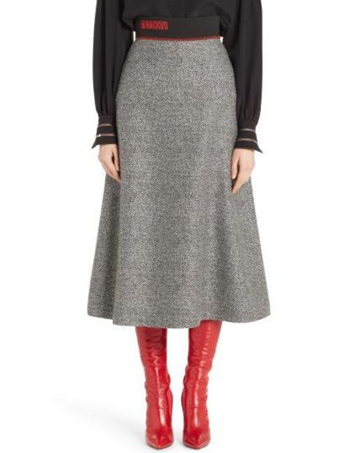 Fendi | Black Chevron Knit A-line Skirt | Lyst