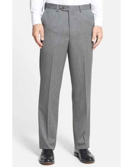 Berle - Gray Self Sizer Waist Flat Front Wool Gabardine Trousers for Men - Lyst