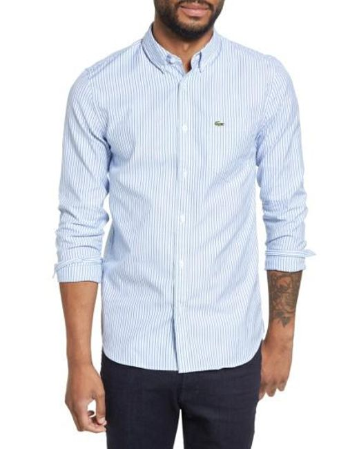 Lyst lacoste button down sport shirt in blue for men for Mens button down sport shirts