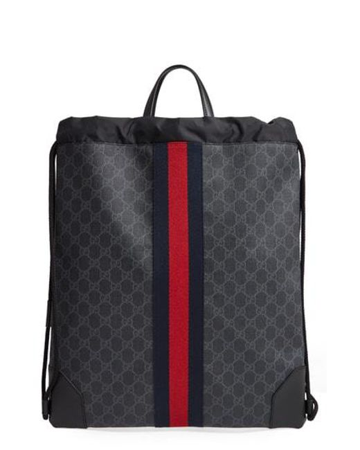 36a5a6c8480 Lyst - Gucci Nylon Drawstring Backpack in Black for Men