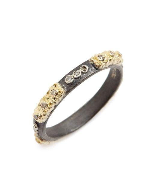 Armenta Metallic Old World Carved Diamond Stack Ring