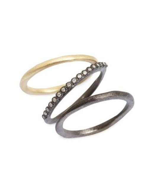 Armenta - Metallic Old World Diamond Stacking Rings (set Of 3) - Lyst