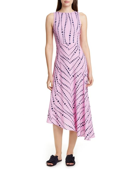 LaDoubleJ Multicolor Pina Dot Asymmetrical Midi Dress