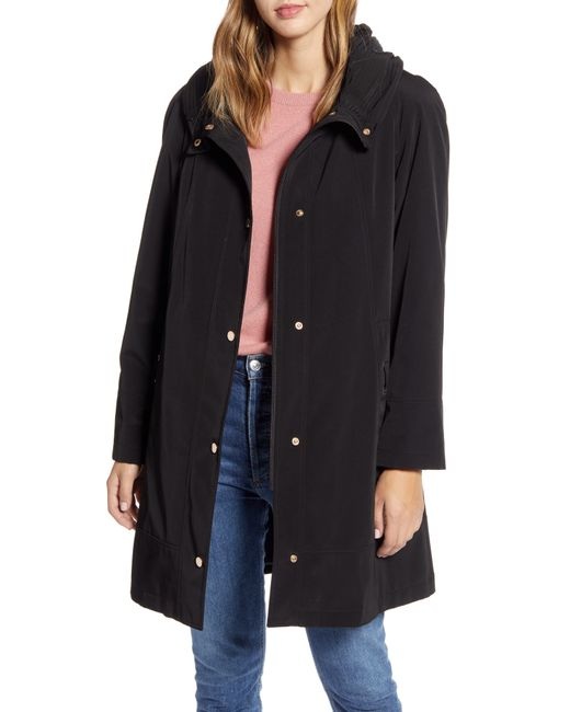 Gallery Black Hooded Raincoat With Removable Liner