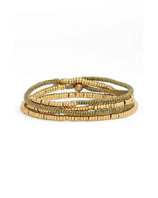 Serefina - Metallic Heishi Wrap Bracelet - Lyst