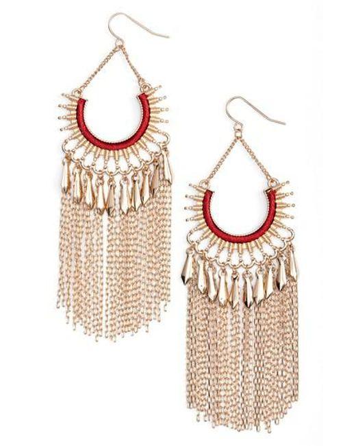 Adia Kibur | Red Chain Fringe Earrings | Lyst