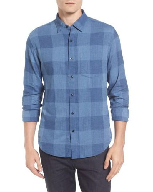 Bonobos slim fit check brushed twill sport shirt in blue for Brushed cotton twill shirt