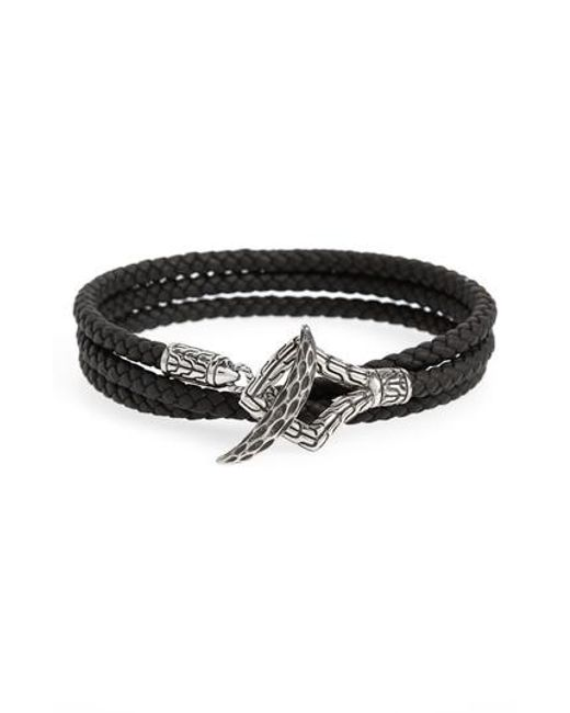 John Hardy - Black Legends Naga Triple Wrap Leather Bracelet for Men - Lyst