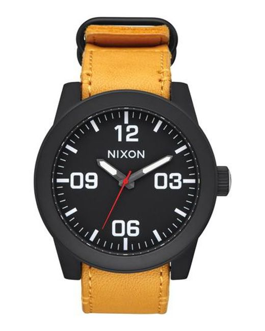 Nixon - Black 'the Corporal' Leather Strap Watch for Men - Lyst