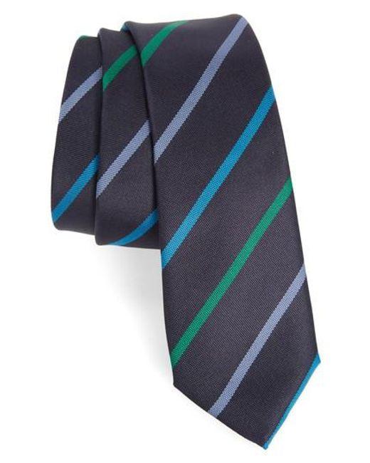 Paul Smith | Blue Stripe Silk Skinny Tie for Men | Lyst