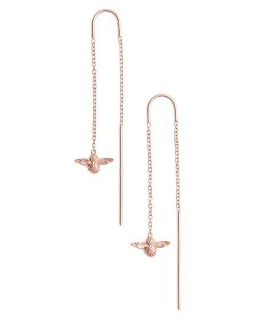 Olivia Burton - Metallic Bee Chain Thread Through Earrings - Lyst