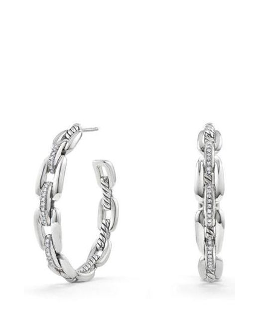 David Yurman Metallic Wellesley 23mm Hoop Earrings With Diamonds Lyst