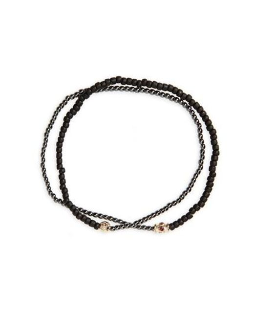 Luis Morais - Black Ruby Barrel Bead Wrap Bracelet - Lyst