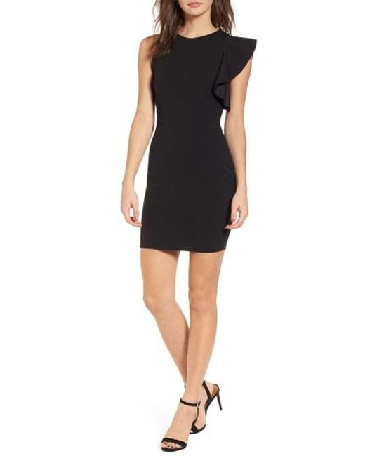 Soprano - Black Ruffle Sleeve Body-con Dress - Lyst