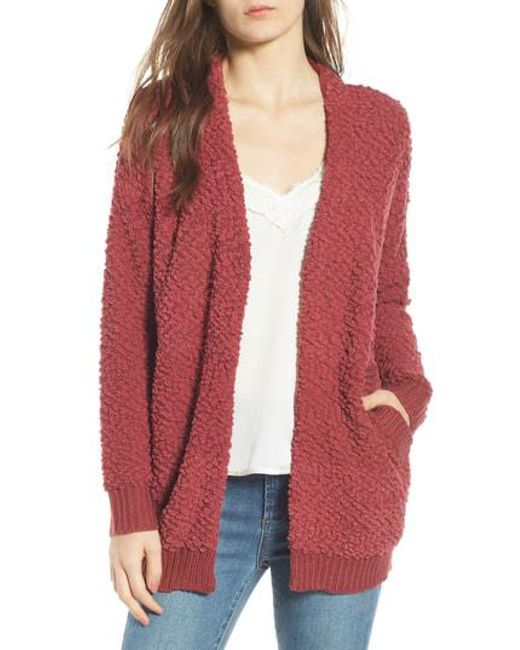 Dreamers By Debut - Red Nubby Cardigan - Lyst