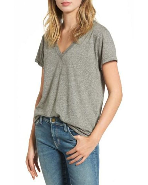 Current/Elliott | Gray 'the V-neck' Tee | Lyst