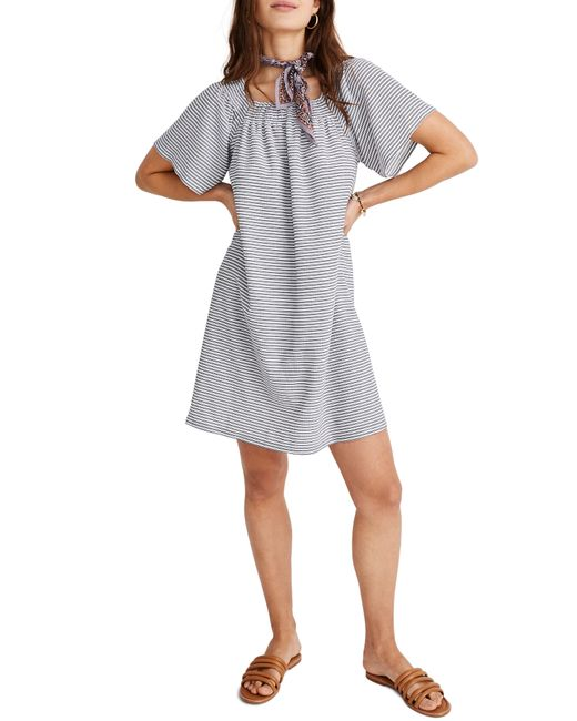 626a6f9723 Lyst - Madewell Texture   Thread Square Neck Smocked Dress in Gray