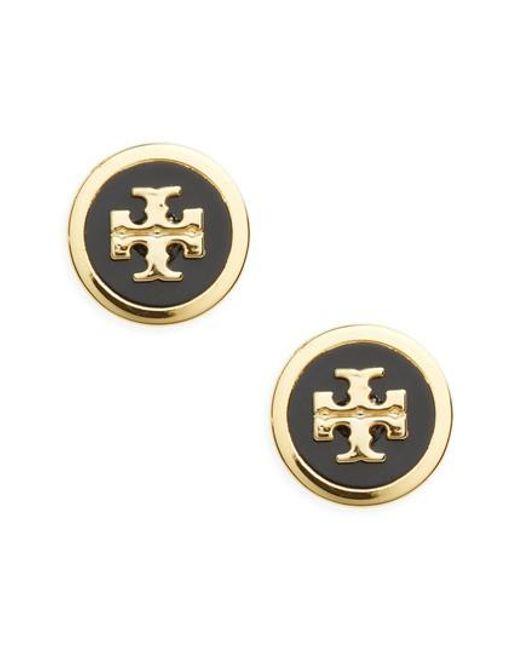 Tory Burch - Metallic Round Logo Earrings - Lyst