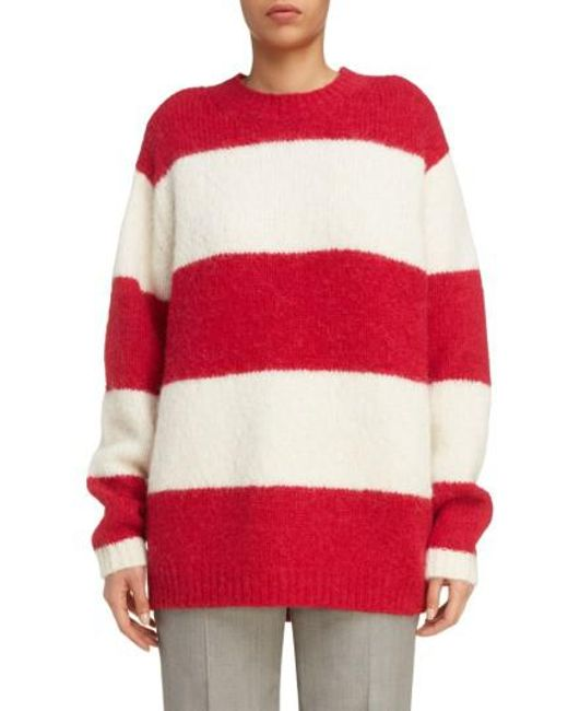 Acne Albah Oversized Stripe Sweater in Red | Lyst