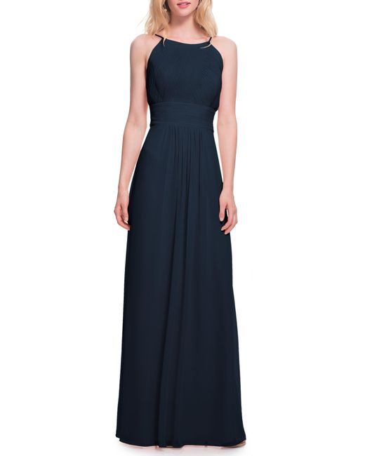 Levkoff Blue Low Back Pleated Chiffon Gown