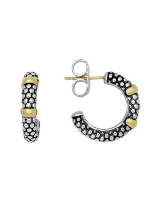 Lagos   Metallic Two Tone Caviar Hoop Earrings   Lyst