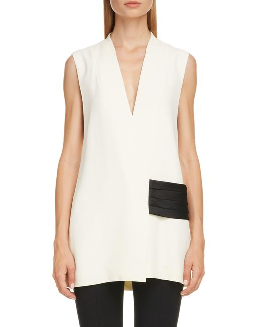 Victoria Beckham White Contrast Band Cady Top