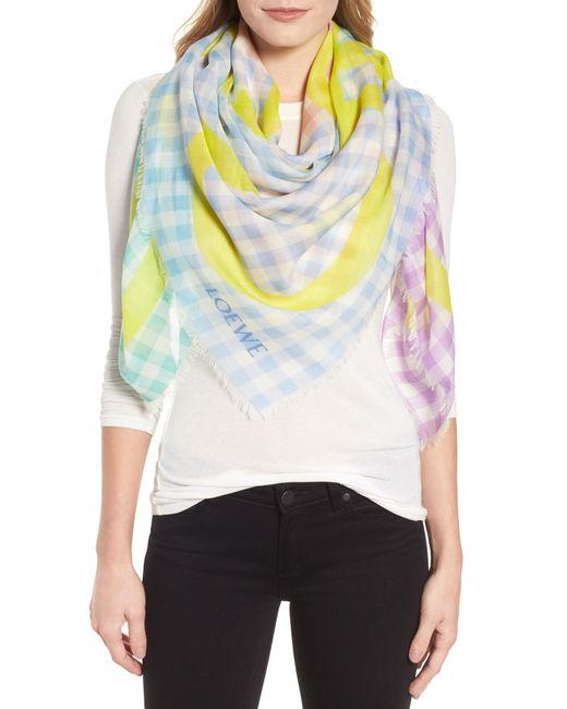 Loewe - Multicolor Gingham Anagram Wool Scarf - Lyst