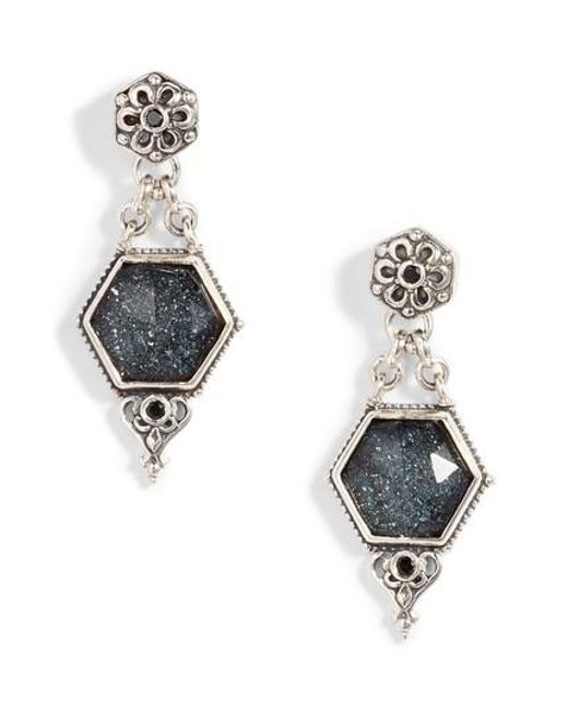 Konstantino | Metallic Santorini Hematite Octogan Drop Earrings | Lyst