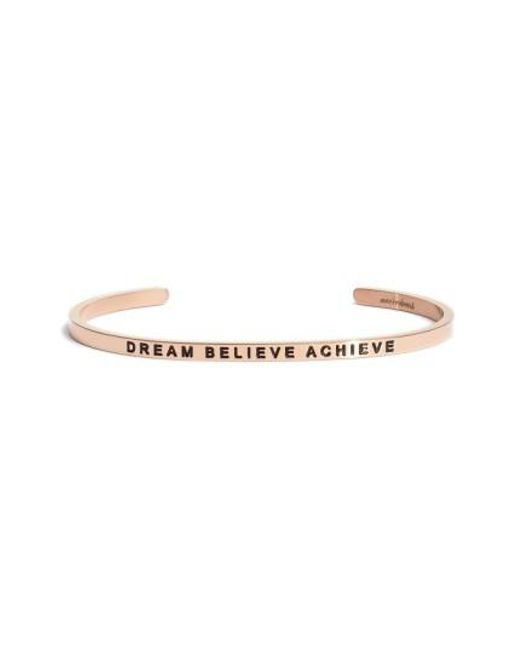 Mantraband | Metallic 'dream Believe Achieve' Cuff | Lyst
