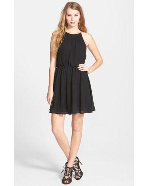 Lush | Black Blouson Chiffon Skater Dress | Lyst