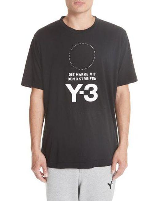 Y-3 - Black Y-s Stat Logo T-shirt for Men - Lyst