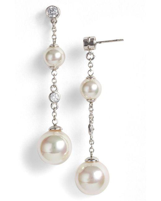 Majorica Metallic Pearl & Cubic Zirconia Linear Earrings