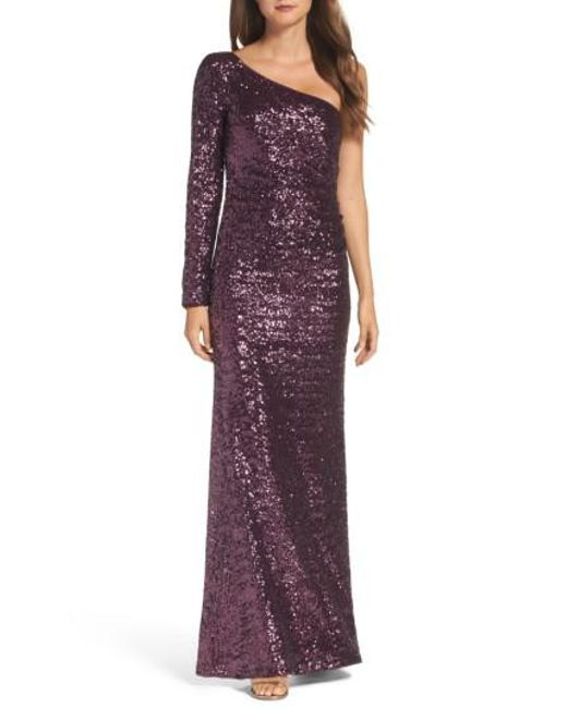 Vince Camuto | Purple Ruched Sequin One-shoulder Gown | Lyst