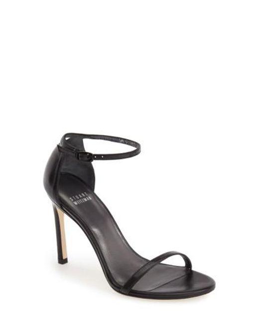 Stuart Weitzman | Black 'nudistsong' Ankle Strap Sandal | Lyst