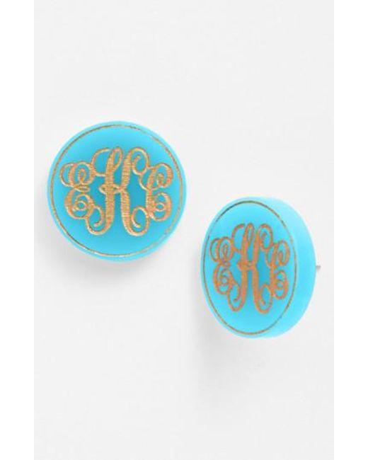 Moon & Lola | Multicolor 'chelsea' Medium Personalized Monogram Stud Earrings (nordstrom Exclusive) | Lyst
