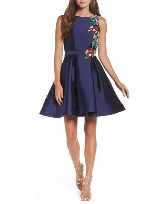 Mac Duggal - Blue Micado Floral Applique Fit & Flare Minidress - Lyst