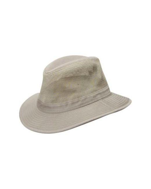 Dorfman Pacific - Natural Washed Twill & Mesh Safari Hat for Men - Lyst