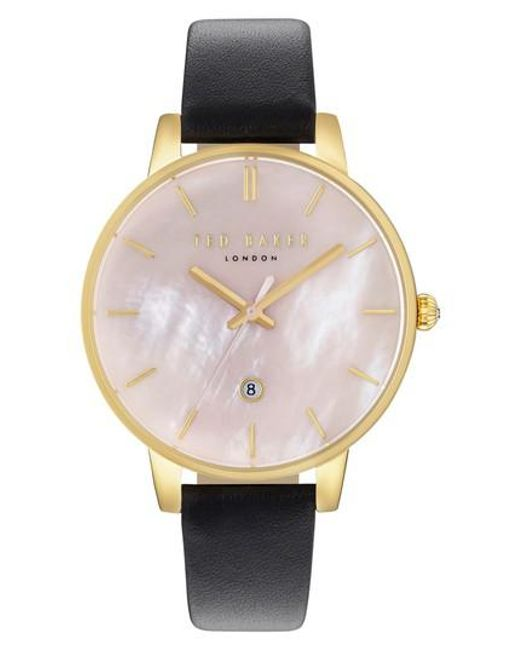 Ted Baker | Pink Kate Leather Strap Watch | Lyst