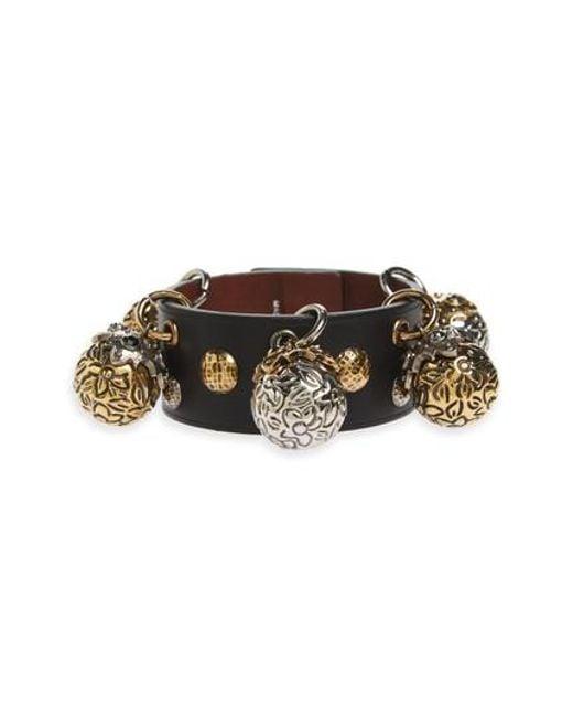 Alexander McQueen - Multicolor Metallic Sphere Leather Bracelet - Lyst