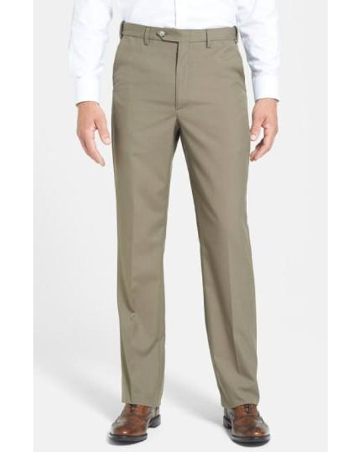 Berle - Green Self Sizer Waist Tropical Weight Flat Front Trousers for Men - Lyst