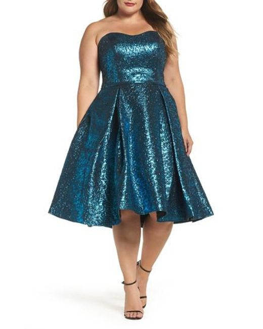 Mac Duggal - Blue Metallic Fit & Flare Dress - Lyst